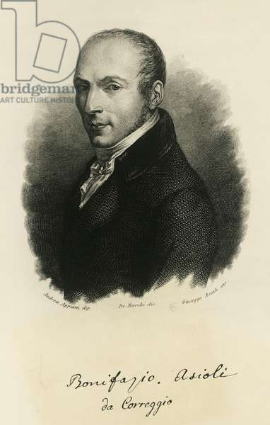 Portrait of Bonifazio Asioli (Correggio, 1769 - Correggio, 1832), Italian composer, engraving, by Giuseppe Asioli (1783-1845), painted by Andrea Appiani (1754-1817), drawing by De Marchi