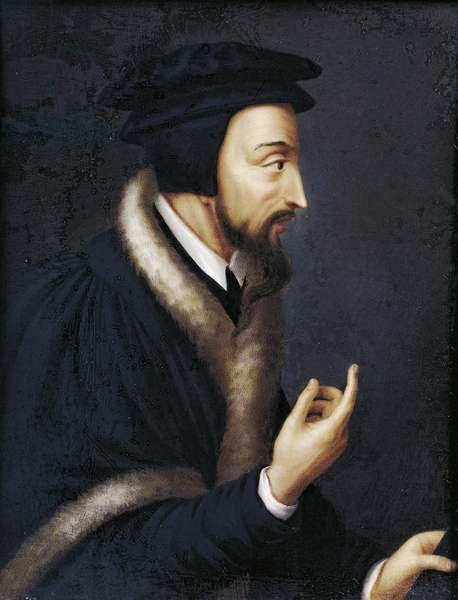 Portrait of John Calvin, French theologian and religious reformer, Miniature