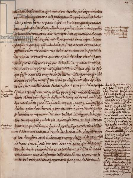 Document with the information by the Admiral of the Indies on the privileges given to Christopher Columbus, Manuscript Folio 21, 15th century