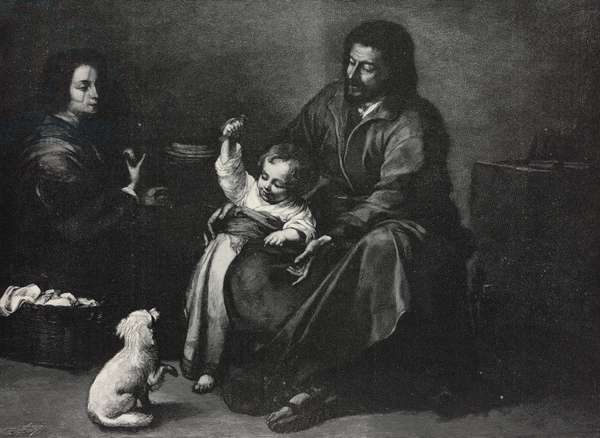 Holy Family with dog and bird, painting by Bartolome Esteban Murillo (1618-1682), from L'Illustrazione Italiana, Year XXIV, No 52, December 26, 1897