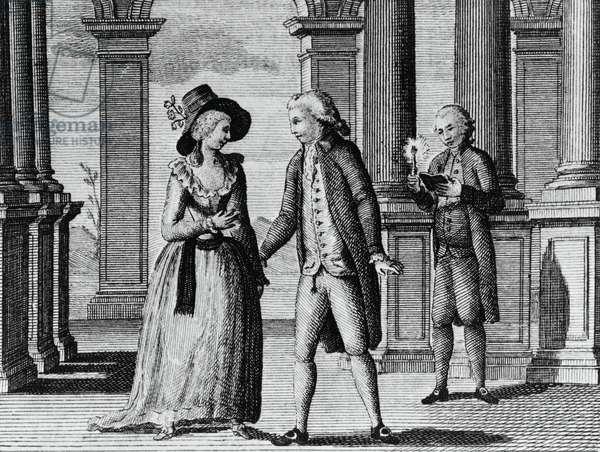 Illustration for comic theatre, comedy by Carlo Goldoni (1707-1793), engraving, from Opere teatrali del sig avvocato Carlo Goldoni veneziano, published by Antonio Zatta e figli, 1789, Venice