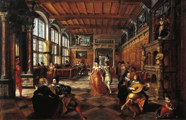 Italy, Turin, painting of a ball in flemish interior