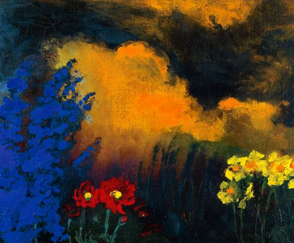 Flowers and clouds, 1933, by Emil Nolde (1867-1957), oil on canvas, 73x88 cm. Germany, 20th century.