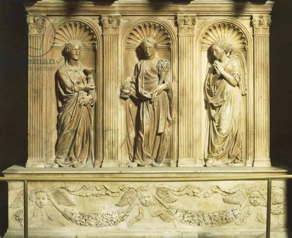 Three theological virtues, detail from Antipope John XXIII's tomb, by Donatello (1386-1466) and Michelozzo (1396-1472), Baptistery of San Giovanni Battista, Florence, Italy, 15th century