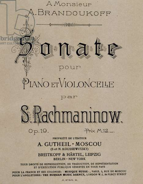 Title page of score for Sonata for piano and cello, Opus 19, by Sergei Vasilievich Rachmaninoff (1873-1943). Russian edition