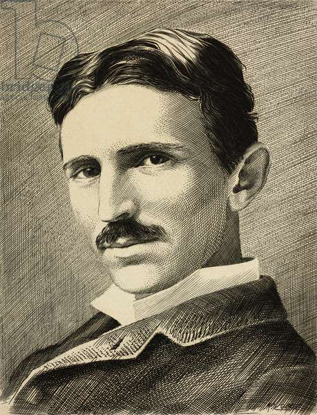 Portrait of Nikola Tesla (1856-1943), Serbian-American inventor, electrical engineer and physicist