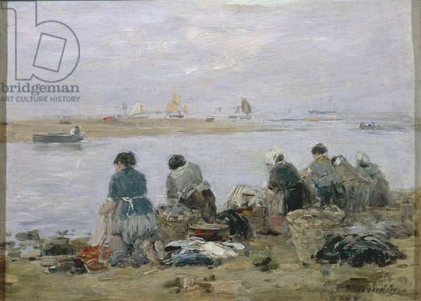 Washerwomen on banks of Touques River near Trouville, by Eugene Boudin, painting