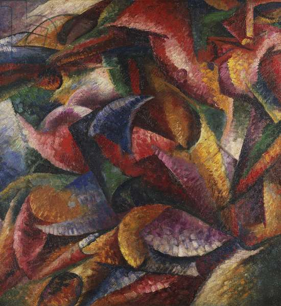 Dynamism of human body by Umberto Boccioni (1882-1916), oil on canvas, 100x100 cm, 1913