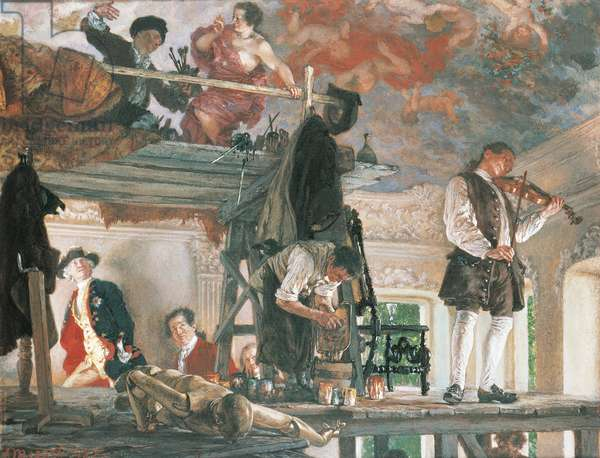 Painting by Adolph von Menzel (1815-1905) depicting Frederick the Great watching the painter Antoine Pesne, frescoing Rheinesberg Residenz ceiling.