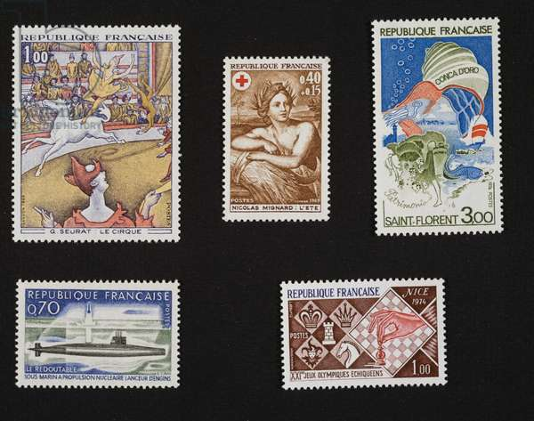 Postage stamp honoring Georges-Pierre Seurat, Circus, 1969, Nicolas Mignard (1605-1668), Summer, 1969, Golden Shell, 1974, Nuclear-powered submarine Le Redoubtable, 1969, 21st Chess olympiad, 1974, France, 20th century