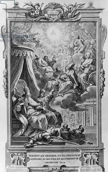 Allegory of the unity of the Church and the Kingdom of heaven, title page of Menologium Graecorum, printed by Antonio Fantauzzi, Urbino, 1727