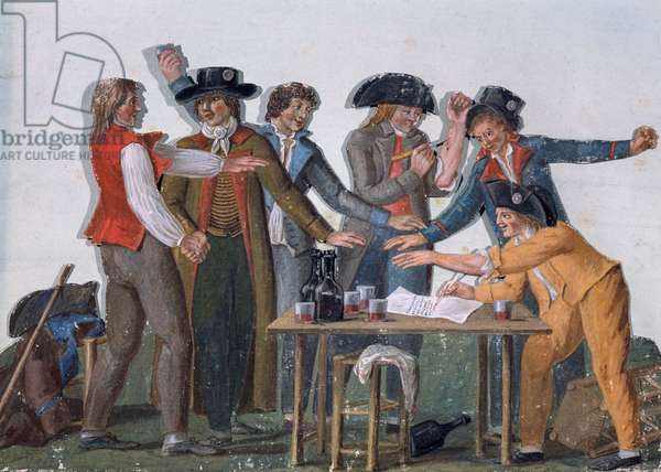 Signing Republican Oath in blood, gouache by Lesueur, France, French Revolution, 18th century