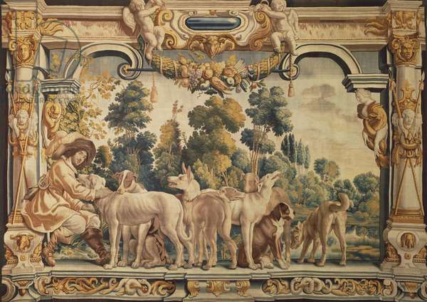 Hunter with his Pack of Hounds, 17th century tapestry woven in Brussels after designs by Jacob Jordaens, from the series Scenes of Country Life.