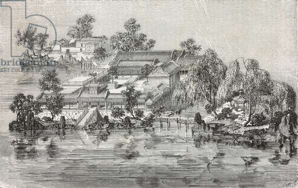 The palace of Geniuses and precious stones, Summer Palace, drawing by Emile Therond (1821-?) from a Chinese painting, from Visit to the Old Summer Palace by Guillaume Pauthier (1801-1873), Beijing, China