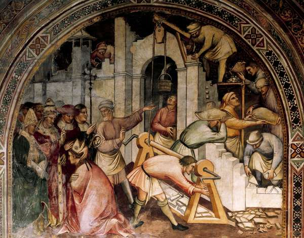 Foundation of Alexandria, scene from Stories of Alexander III, 1407-1408, by Spinello Aretino (ca 1350-1410), fresco, Priory Room, Public Palace, Siena (UNESCO World Heritage List, 1995), Tuscany. Detail. Italy, 15th century.