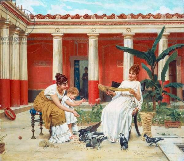Feeding the pigeons, 1879, by Raffaello Sorbi (1844-1931), oil on canvas, 36.5x41.5 cm