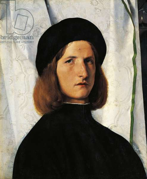 Portrait of young man with lamp, c.1506 (oil on panel)