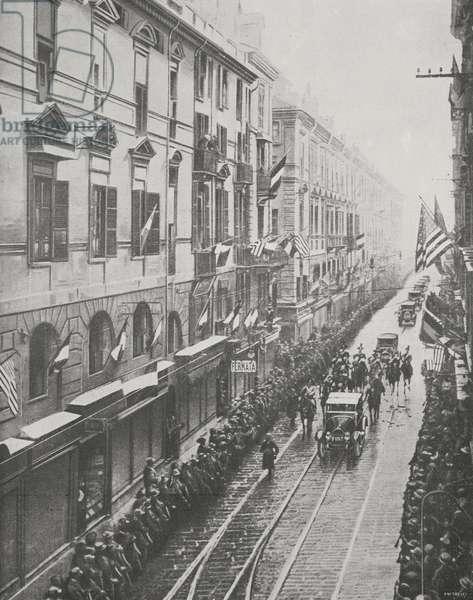 President of United States Thomas Woodrow Wilson (1856-1924) passes through Turin, Italy, on FIAT car, from magazine L'illustrazione italiana, year XLVI, no 2, January 12, 1919