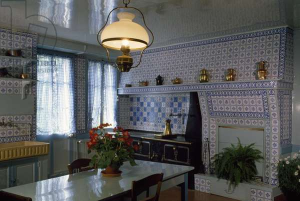 Blue kitchen in the house of Claude Monet (1840-1926), Giverny, Haute-Normandie, France