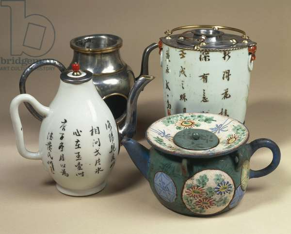 Pewter teapots, porcelain teapot and painted terracotta teapot, China. Chinese Civilization, 19th century, 18th-19th century and 20th century.