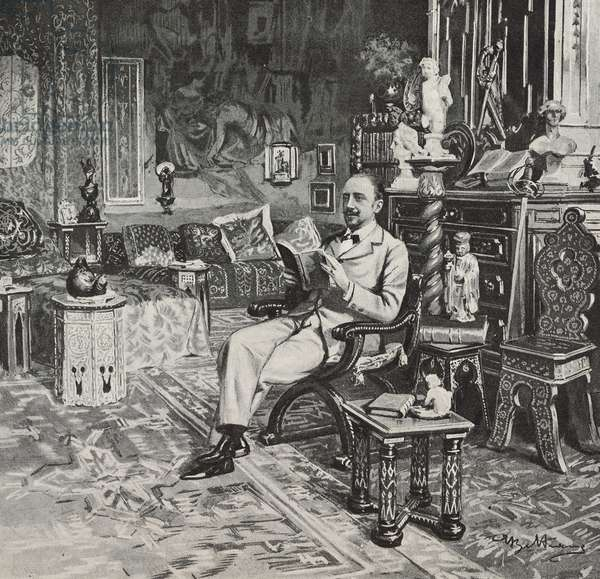 Italian poet, writer and playwright Gabriele D'Annunzio (1863-1938) at his studio in Francavilla al Mare, Abruzzo, Italy, drawing by Achille Beltrame (1871-1945), from L'Illustrazione Italiana, Year XXV, No 5, January 30, 1898