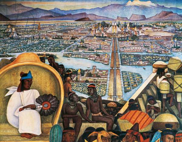 Tenochtitlan, the Aztec capital, by Diego Rivera (1886-1957), detail from the National Palace frescoes, Mexico City. Mexico, 20th century.