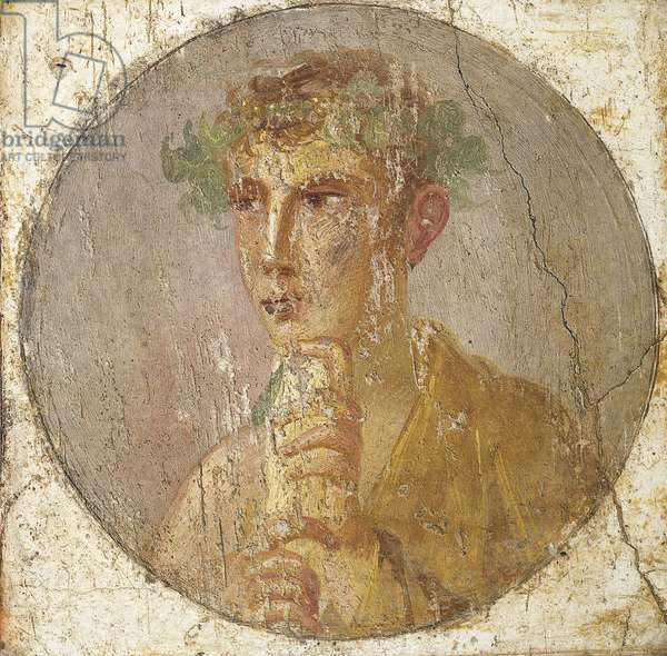 Portrait of a young man holding a papyrus scroll, 55-79 AD (fresco)