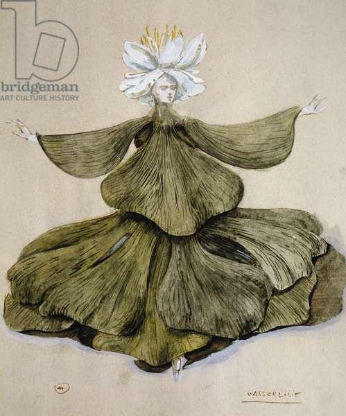 Water lily, costume sketch of romantic opera Oberon, by Carl Maria Friedrich Ernst von Weber (1786-1826).