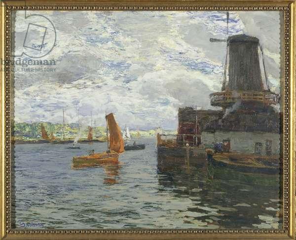 Windmill in Dordrecht (oil on card)
