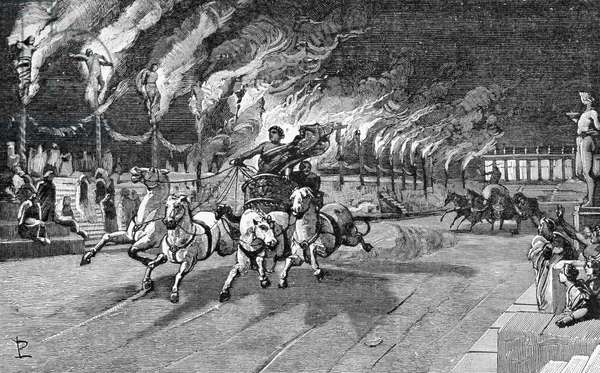 Torches of Nero, martyrdom of Christians, from History of Italy by Francesco Bertolini (1836-1909), illustration by Ludovico Pogliaghi (1857-1950), Milan, Italy 1890, 19th century