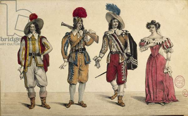 Costumes of man of arms, musketeer and middle class persons, print