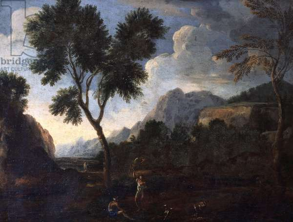 Hunters in a valley, by Gaspard Dughet (1615-1675), oil on canvas, 56x67 cm.