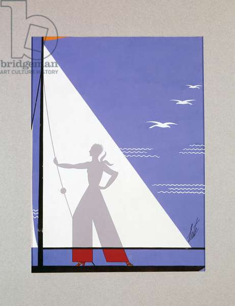 Woman on sailboat, cover for Harper's Bazaar