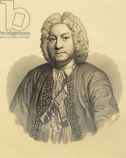 France, Composer and harpsichordist Francois Couperin, engraving