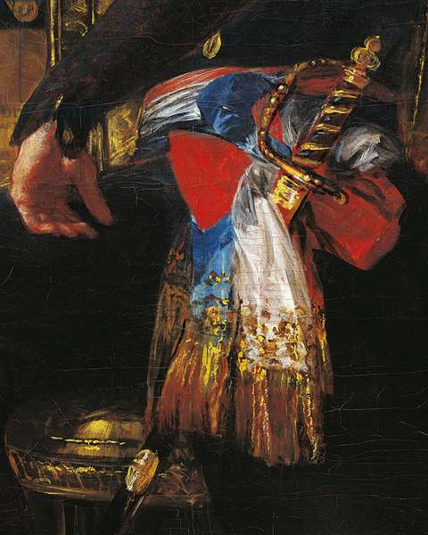 Sword and sash, detail from portrait of Ferdinand Guillemardet, France's ambassador to Spain from 1798 to 1800 by Francisco de Goya (1746-1828), oil on canvas, 186x124 cm, Spain, 1798-1799
