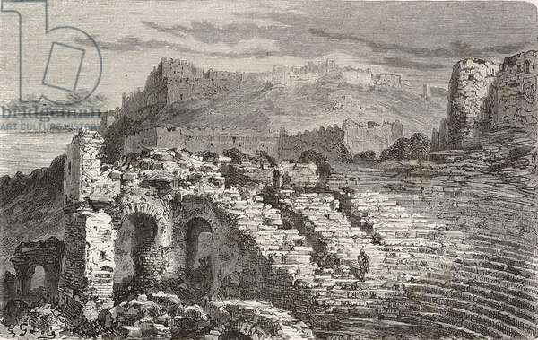Ruins of the Roman theatre in Murviedro, Sagunto, Spain, drawing by Dore, from Travels in Spain by Gustave Dore (1832-1883) and Jean Charles Davillier (1823-1883), 1862