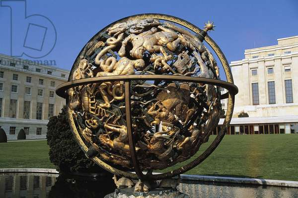 Celestial sphere or Woodrow Wilson Memorial Sphere, 1939, by Paul Manship (1885-1966), with United Nations building in background, 1931-1938, Geneva, Switzerland, 20th century