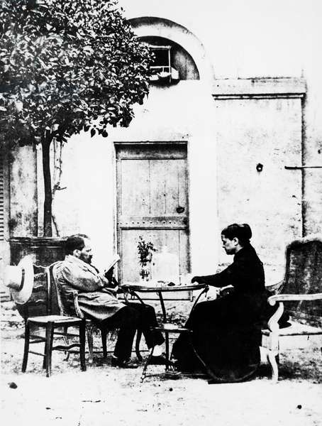 French chemist and microbiologist Louis Pasteur (Dole, 1822-Marnes-la-Coquette, 1895) and his wife Marie Laurent