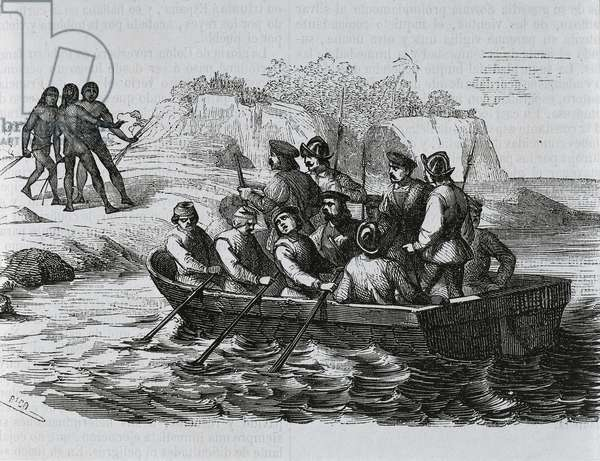 Christopher Columbus' sailors arriving on the south coast of the island of Hispaniola and surprising the natives, 1492, engraving from History of the Life and Voyages of Christopher Columbus, Washington Irving (1783-1859), 1851, 19th century