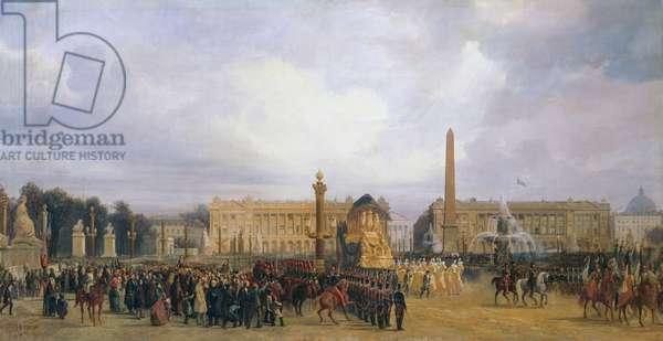 Transport Napoleon Bonaparte's remains on December 15, 1840, Place de la Concorde, Paris, France, painting by Jacques Guiaud, 19th century