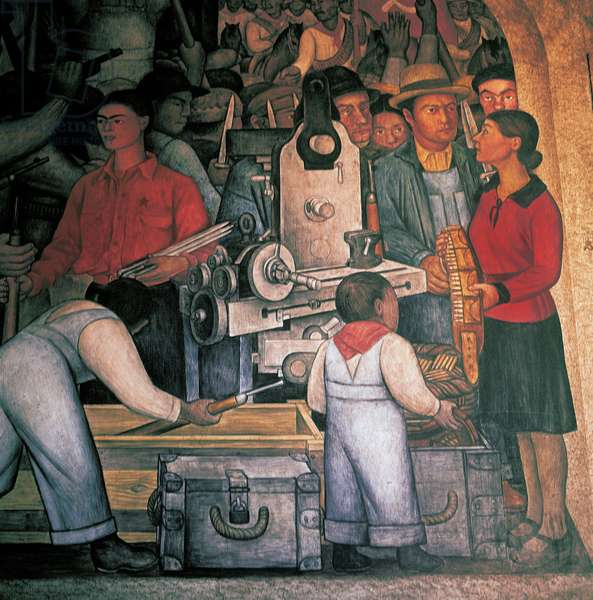 A weapons factory, by Diego Rivera (1886-1957), detail from the National Palace frescoes, Mexico City. Mexico, 20th century.
