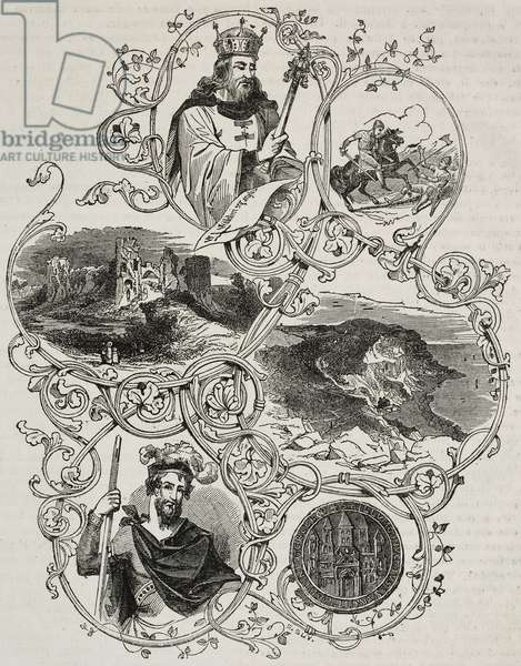 Battle of Hastings: (from left to right, from top to bottom) William; knights in battle; Pevensey Castle; coast where Normans landed; Harold; seal of Battle Abbey, United Kingdom
