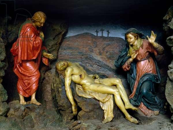 Lamentation of Christ, attributed to school of Gaetano Giulio Zumbo (1656-1701), wax work, Italy, 17th century