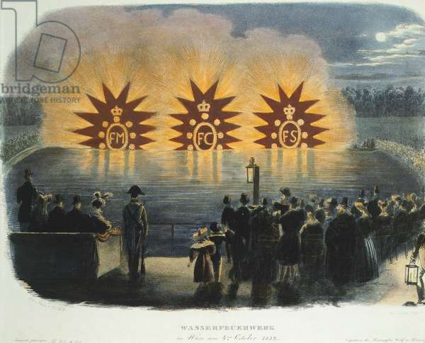 Austria, Vienna, Fireworks on 4th October 1832