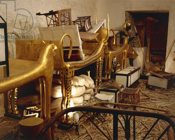 Replica of antechamber of tomb with royal funerary objects, from King Tutankhamen's tomb