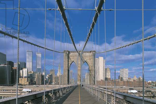 Road on a bridge, Brooklyn Bridge, Manhattan, New York City, New York State, USA