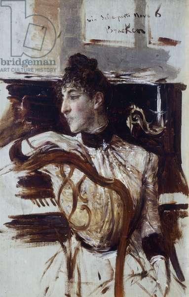 Alaide Banti in profile by Giovanni Boldini (1842-1931)