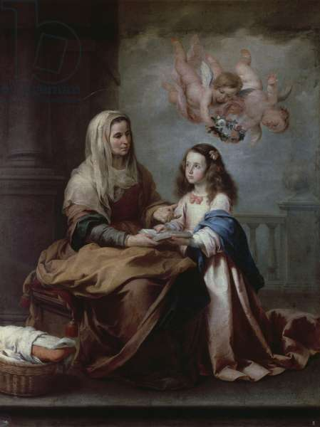 Saint Anne teaching the Virgin to read, ca 1655, by Bartolome Esteban Murillo (1618-1682), oil on canvas, cm 219x165