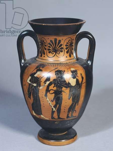 Attic amphora representing Hercules, Athena and Hermes, black-figure pottery. Greek Civilization, 5th Century BC.