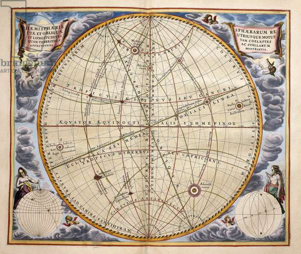 Trajectories of planets and stars as seen from Earth, engraving from Harmonia Macrocosmica, by Andreas Cellarius (1596-1665), 1660, Amsterdam, Netherlands